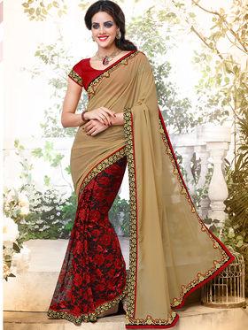 Bahubali Georgette And Net Embroidered Saree - GA.50401
