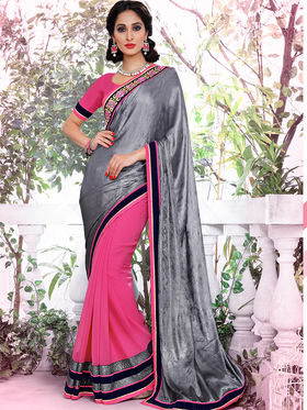 Bahubali Satin And Georgette Embroidered Saree - GA.50414