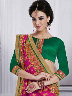 Bahubali Georgette Embroidered Saree - Magenta - GA.50204