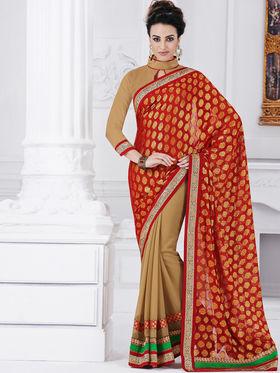 Bahubali Viscose Embroidered Saree - Red - GA.50212