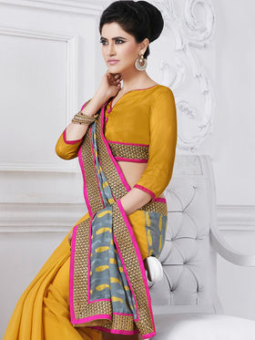 Bahubali Jacquard Embroidered Saree - Grey - GA.50224