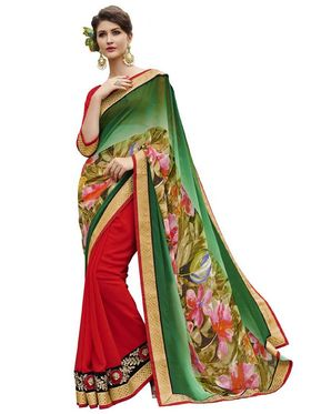 Bahubali Georgette Embroidered Saree - Green And Red