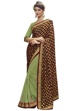 Bahubali Viscose Jacquard-Georgette Embroidered Saree - Maroon And Green