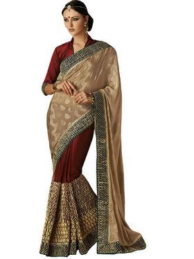 Bahubali Sparkle Jacquard Embroidery Saree - Gold_HT.52212