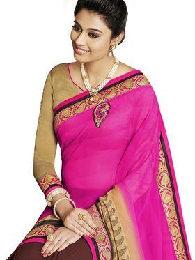 Bahubali Chiffon-Georgette Embroidered Saree - Pink