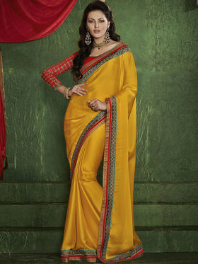 Bahubali Satin Chiffon Embroidered Saree - Yellow - RA.10226