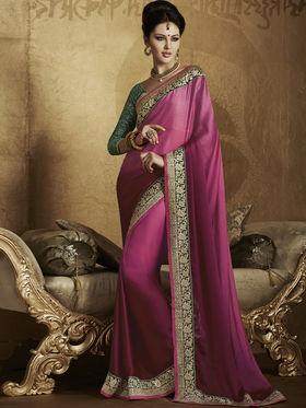 Bahubali Satin Chiffon Embroidered Saree - Pink - RA.10232
