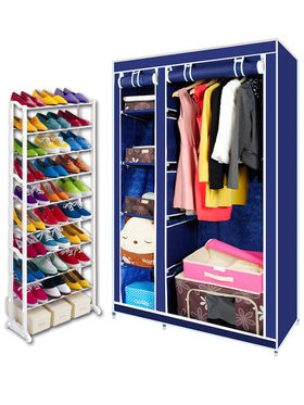 Combo Of Kawachi Elegant Double-Sided Foldable Canvas Wardrobe with Portable Shoe Rack_C78-Blue