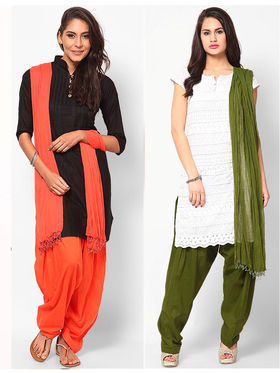 Combo of 2 Arisha Cotton Solid Salwar And Dupatta Set-CMBB17