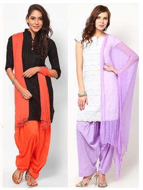 Combo of 2 Arisha Cotton Solid Salwar And Dupatta Set-CMBB18
