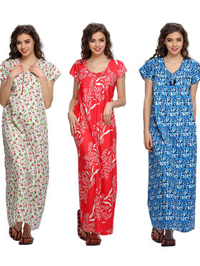 Pack Of 3  Clovia Poly Cotton Printed Nighty  -Comnaap02