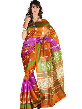Carah Art Silk Printed Saree - Multicolor - CRH-SS182369