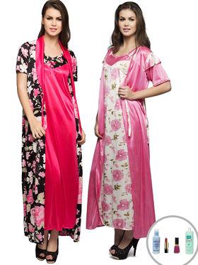 Set of 4 Clovia Satin Printed Nightwear