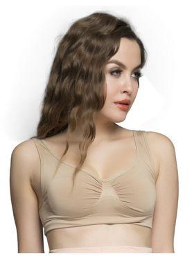 Clovia 92% Nylon-8% Spandex Plain Bra - Skin Color