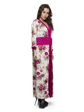 Set of 2 Clovia Satin Printed Nightwear with Robe - NS0328P22