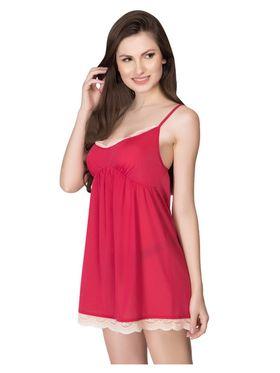 Clovia Lycra-Nylon Plain Nightwear - Pink