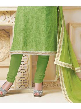 Viva N Diva Semi Stitched Banarasi Chanderi Embroidered Suit  Color-Blossom-03-1042