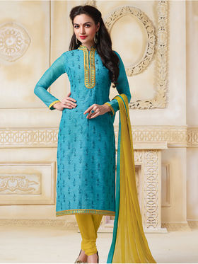 Viva N Diva Banarasi Chanderi Embroidered Unstitched Suit Color-Blossom-03-1051