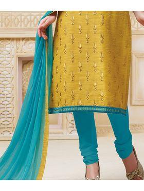 Viva N Diva Semi Stitched Banarasi chanderi Embroidered UnStiched Suits  Color-Blossom-03-1052