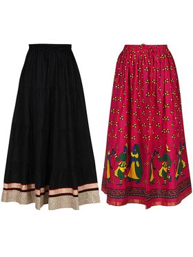Pack of 2 Amore Printed Cotton Skirt -sk07