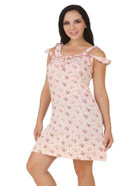 Fasense Shinker Cotton Floral Print Nightwear Short Nighty -DP152A1