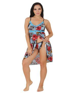 Fasense Serena Floral Print Nightwear Short Nighty & Thong -DP161C0