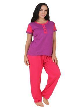 Fasense Shinker Cotton Solid Print Nightwear Set of Top & Pyjama -DP164A1