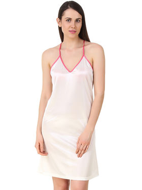 Fasense Solid Satin Short Nighty -Dp195A3
