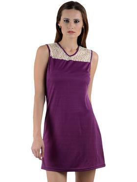 Arisha Crepe Solid Dress DRS1004_Wht-Prpl