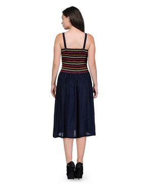 Arisha Viscose Solid Dress DRS1016_Nvy