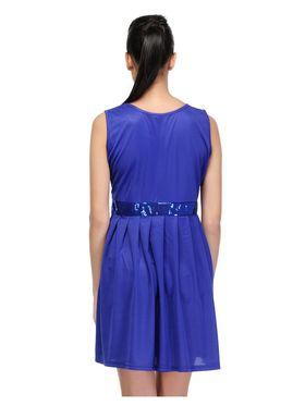 Arisha Viscose Solid Dress DRS1029_Blu