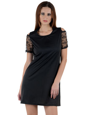 Arisha Cotton Solid Dress DRS1033_Blk