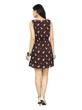 Arisha Crepe Printed Dress DRS1046-maroon-M