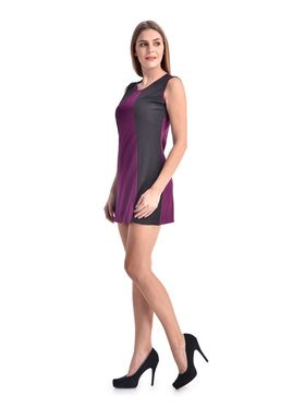 Arisha Viscose Solid Dress DRS1067_Prpl-Blk
