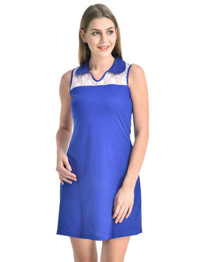 Arisha Viscose Solid Dress DRS1071_Wht-Blu