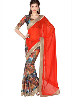 Designersareez Faux Georgette & Crepe Digital Print Saree - Orange & Multicolor