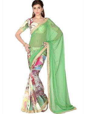 Designersareez Faux Georgette & Crepe Digital Print Saree - Green & Multicolor