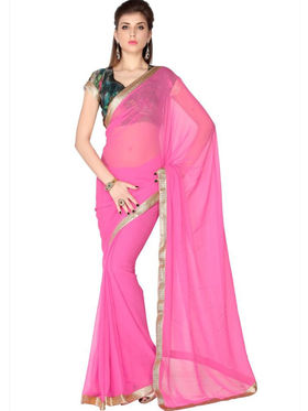 Designersareez Faux Georgette Embroidered Saree - Soft Pink