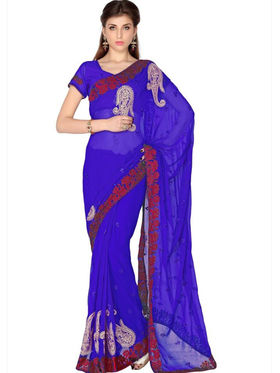 Designersareez Faux Georgette Embroidered Saree - Blue - 1773