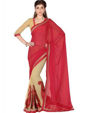 Designersareez Faux Georgette Embroidered Saree - Red & Beige