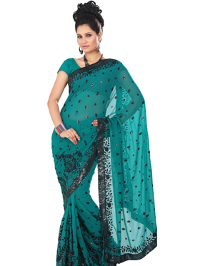 Designer Sareez Embroidered Faux Georgette Saree - Teal