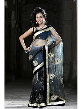Embroidered Net Saree - Black / Grey