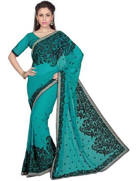 Designer Sareez Chiffon Embroidered Saree - Turquoise - 1576