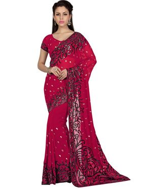 Designer Sareez Faux Georgette Embroidered Saree - Deep Maroon - 1581