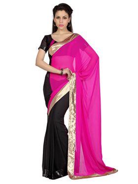 Designer Sareez Chiffon Embroidered Saree - Pink & Black - 1650
