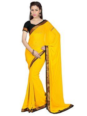 Designer Sareez Faux Georgette Embroidered Saree - Yellow - 1700