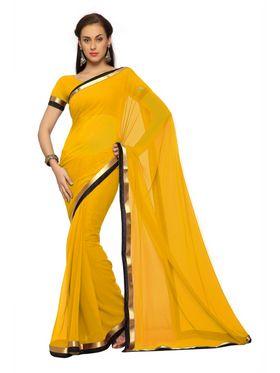 Designer Sareez Faux georgette Printed Saree - Yellow