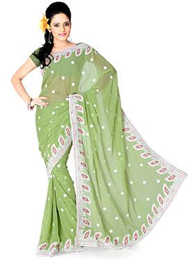 Designer Sareez Embroidered Faux Georgette Saree - Apple Green