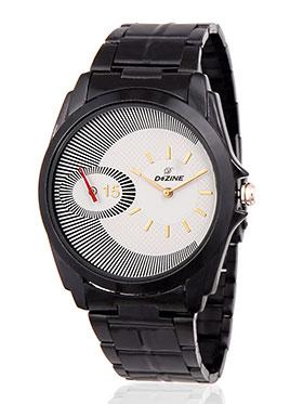 Dezine Wrist Watch for Men - White_DZ-GR073-WHT-BRW