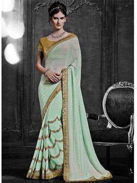 Viva N Diva Satin Georgette Embroidered Saree -Dramatic-5101